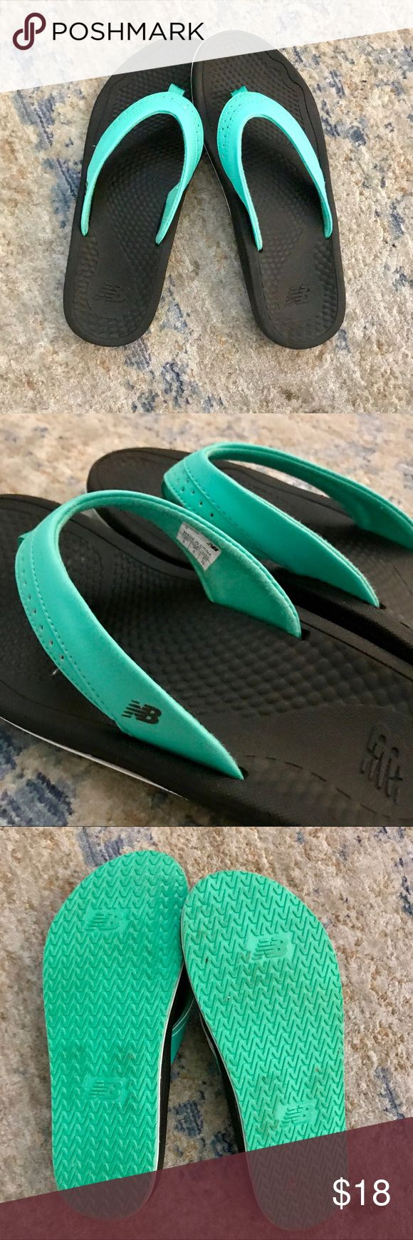 New Balance Flip Flops New Balance flip flops -- only worn once -- pretty seafoam color. little small for me.  very comfortable • no trades • New Balance Shoes Sandals