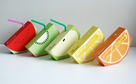 Innovative Packaging design. What kid (or fun loving adult) wouldn't love to drink juice from one of these in their lunch. Awesome. I want it.