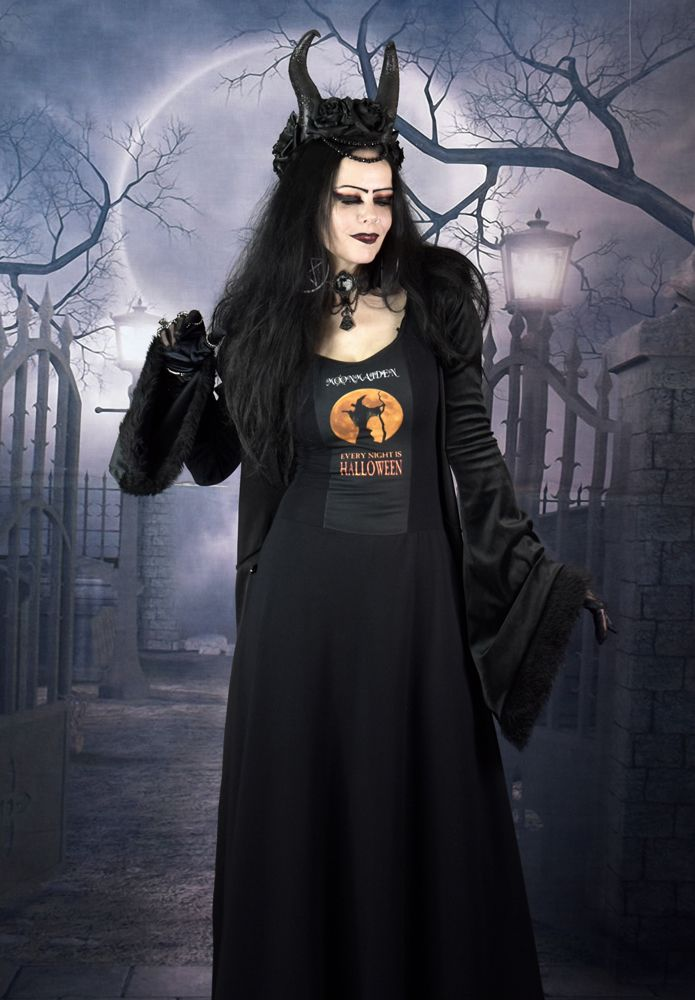Every Night is Halloween Dress - long cottong lycra steampunk goth dress  by Moonmaiden Gothic Clothing UK