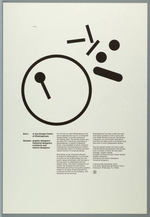 Paul Rand, Poster/Adv., Westinghouse Design Center, 1968 (via...