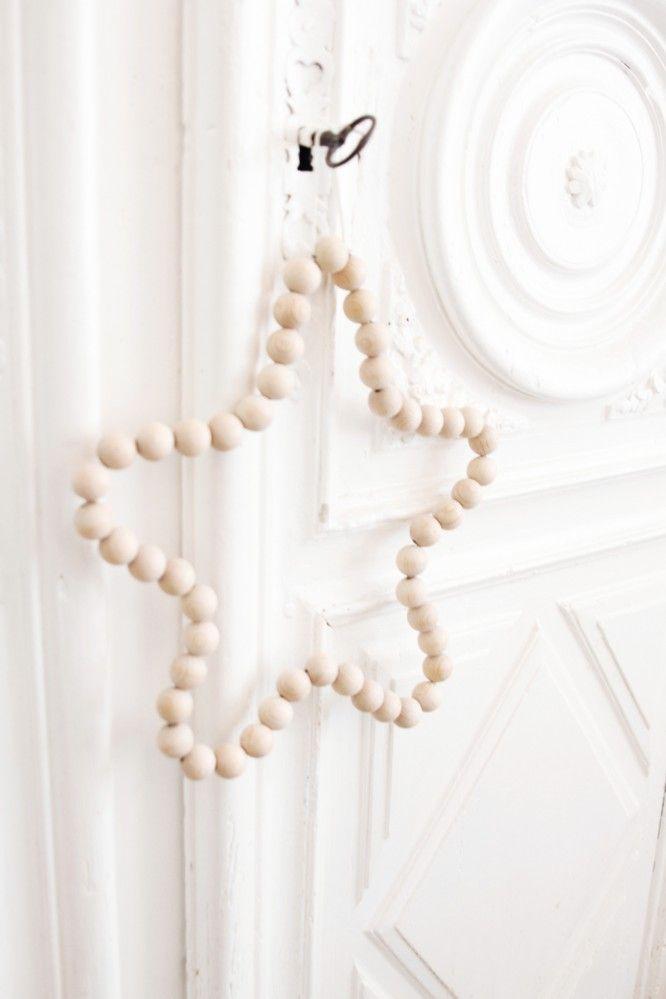 étoile perle en bois