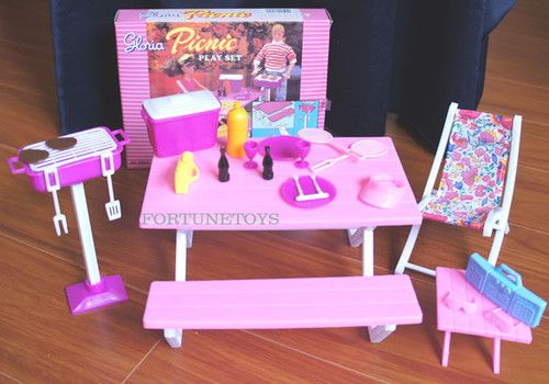 NEW GLORIA Dollhouse FURNITURE Picnic Benches PLAY SET FOR BARBIE
