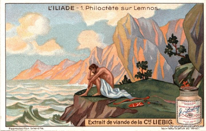 liebil01.jpg - liebil01: The wound that a snake caused Philoctetes proved to be incurable, and the stench which it produced was so difficult to endure that Agamemnon, the commander in chief of the army that had sailed against Troy, decided to get rid of Philoctetes, putting him ashore in the island of Lemnos, where he survived in the wildernesss for several years. Liebig sets.