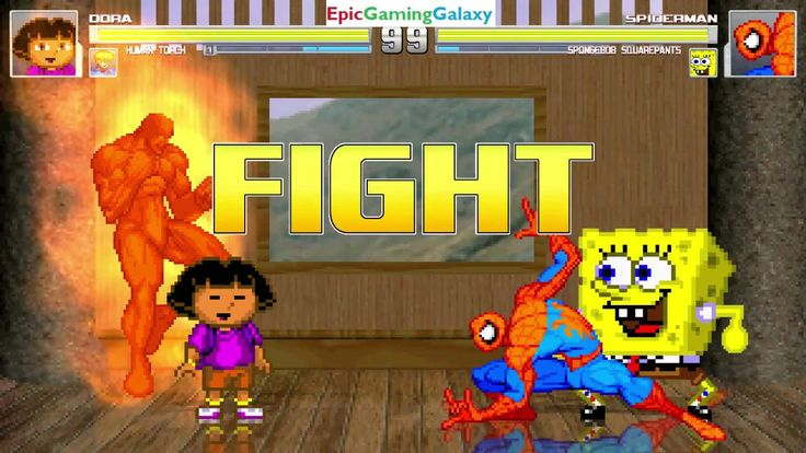 Spider-Man & SpongeBob SquarePants VS Dora The Explorer & Human Torch In A MUGEN Match / Battle This video showcases Gameplay of Spider-Man The Superhero And SpongeBob SquarePants VS Dora The Explorer And Human Torch The Member Of The Fantastic Four In A MUGEN Match / Battle / Fight