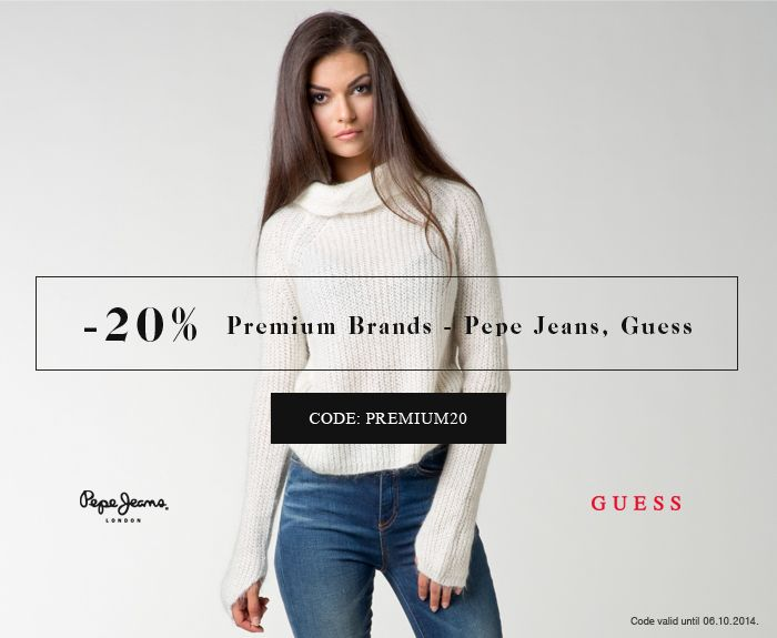 -20 Premium Brands - Pepe Jeans, Guess  CODEL PREMIUM20 Code valid until 06.10.2014  www.jeansstore.com/promo.php?url=premium_brands&utm_source=14premium20  #jeansstore #jeansstorecom #newcollection #newarrivals #new #newproduct #fallwinter14 #autumnwinter14 #aw14 #fw14 #winter #autumn #online #store #onlinestore
