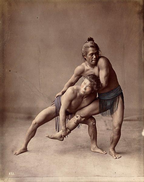 Two wrestlers, about 1875. by Felice Beato or Raimond von Stillfried