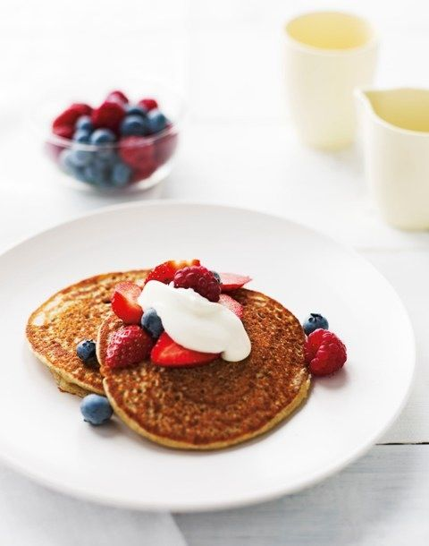 Michelle Bridges makes fluffy buckwheat pancakes with berries and yoghurt