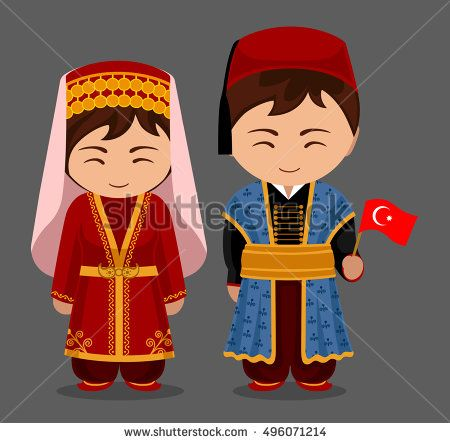 Turks in national dress with a flag. Man and woman in traditional costume. Travel to Turkey. People. Vector flat illustration.