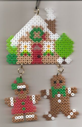 House - Perler beads Gingerbread House with Gingerbread boy and girl by margieelisabeth