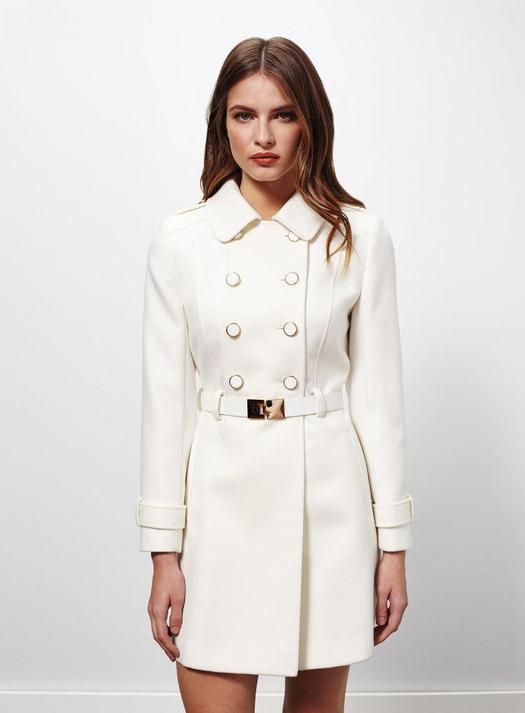 Petites White Military Coat