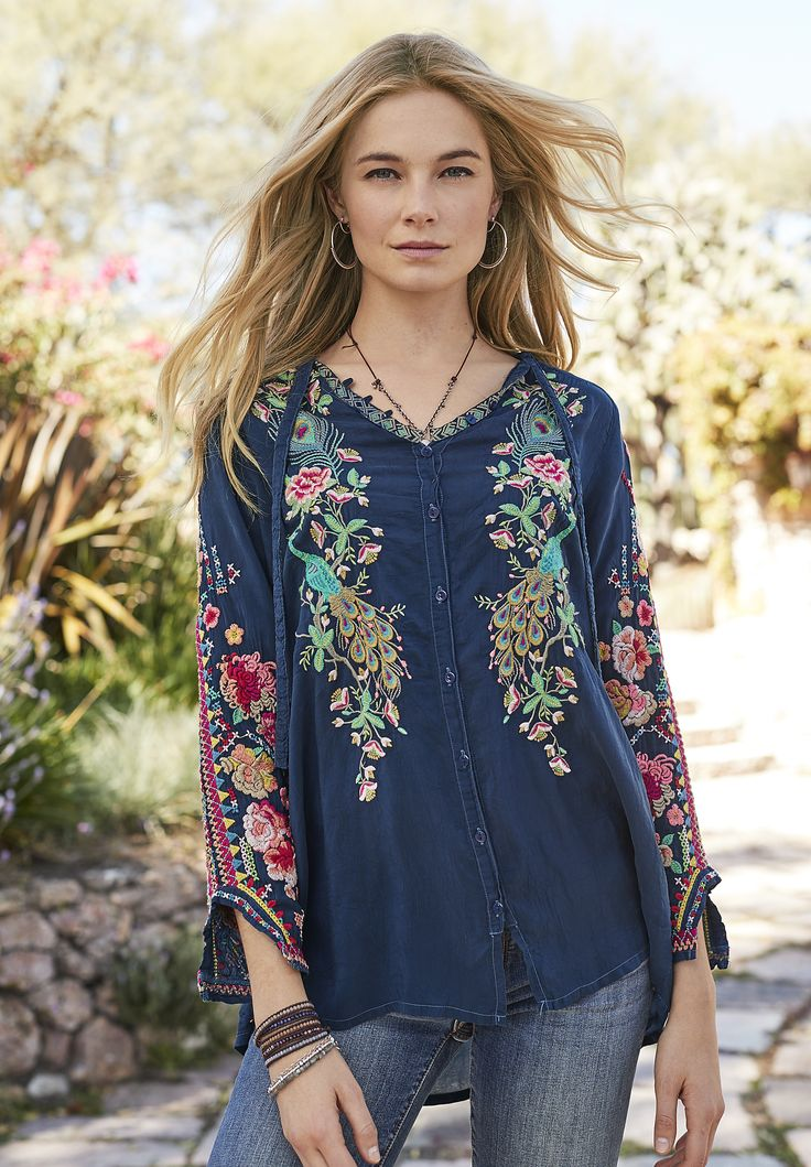 Rafaela Top - button-up top with intricate, peacock-and-floral embroidery.