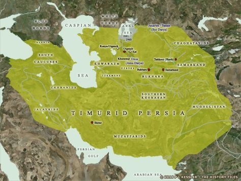 Map of the Timurid empire AD 1400