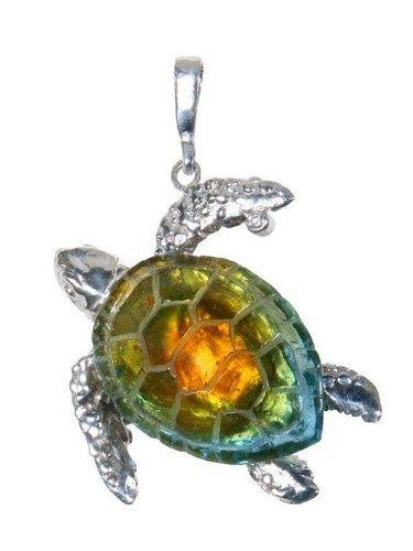 Sea Turtle Cast Glass Pendant w/Diamond   creartions - Jewelry on ArtFire