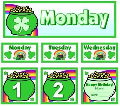 March and St. Patrick's Day Classroom Calendar Set