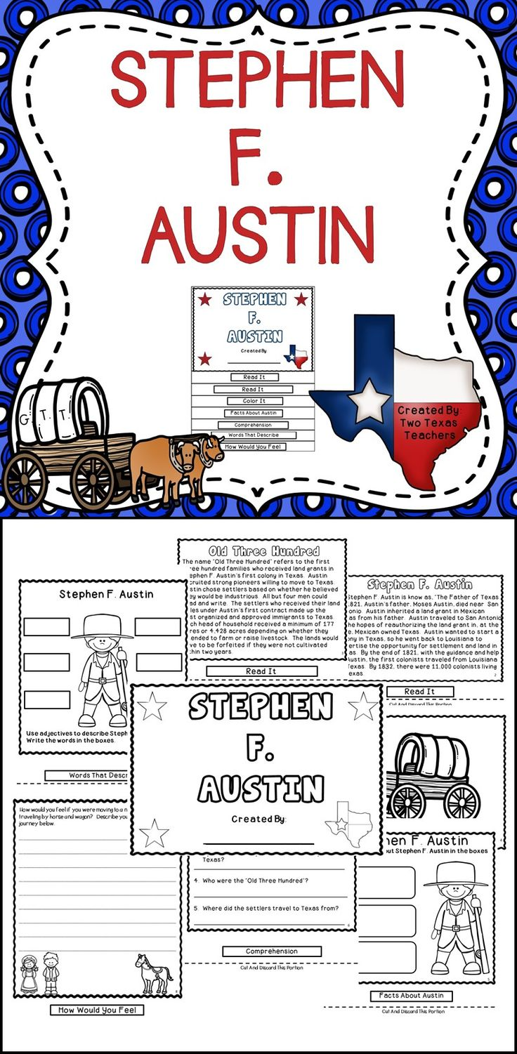 Stephen F. Austin - This flip book is a great supplemental resource to use when teaching Texas History! #texas