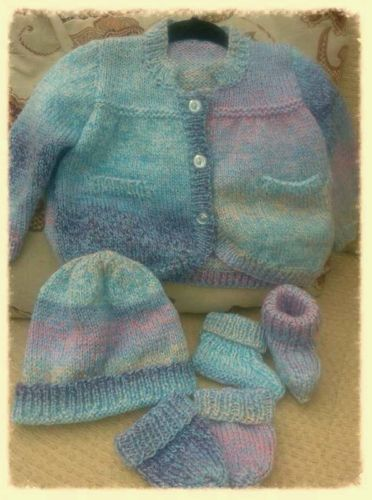 3-6 mths. Hand knitted baby cardigan sets
