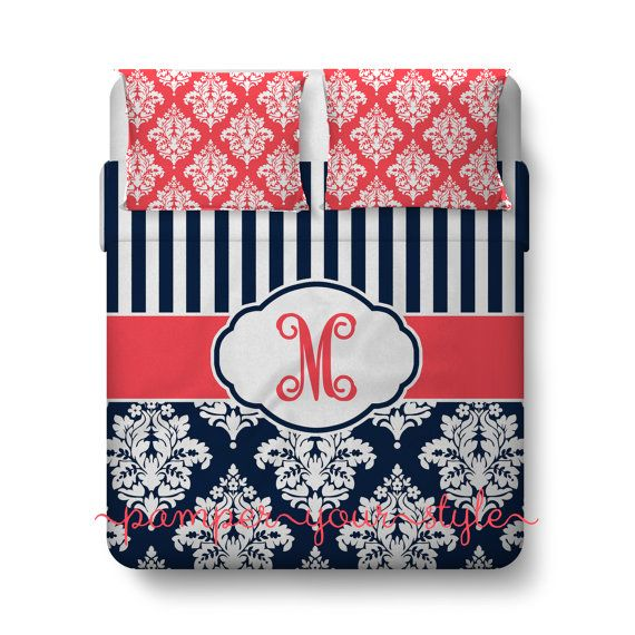 Stripe and Damask Bedding, Navy and Coral Duvet or Comforter, Personalized, Create and Design Your Own Bedding