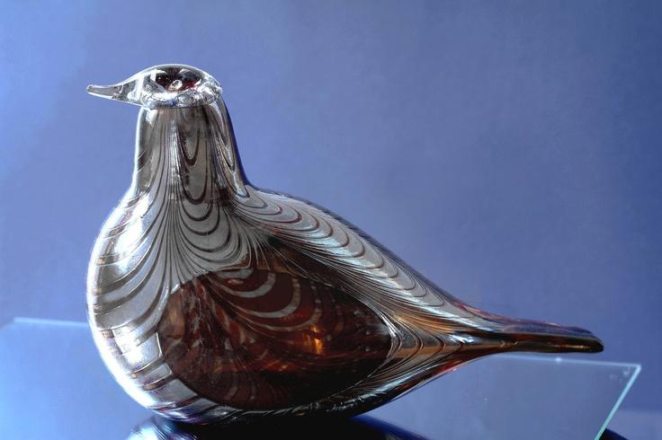 OIVA TOIKKA BIRD PHEASANT 'Silver' BIG old NUUTAJÄRVI IITTALA FINLAND