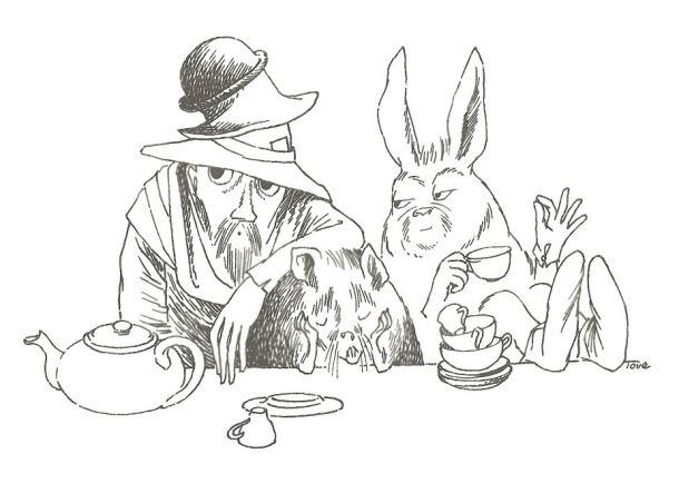 Tove Jansson illustration for 'Alice's Adventures In Wonderland' by Lewis Carroll. 1966