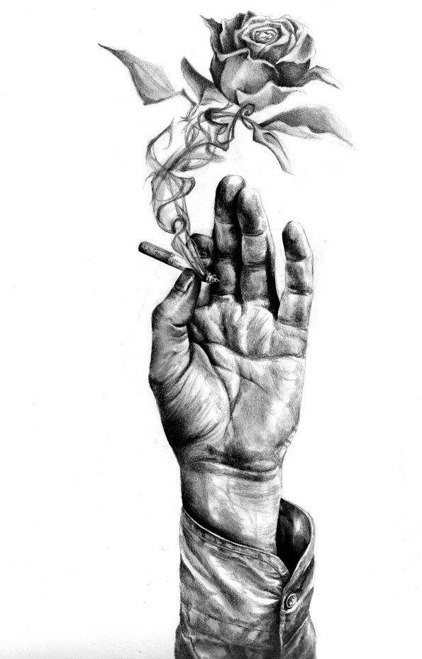 Sketch of hand holding cigarette by KatePowellArt.deviantart.com