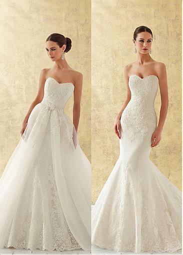 Organza encantador de novia de escote 2 en 1 vestido de novia con apliques de…