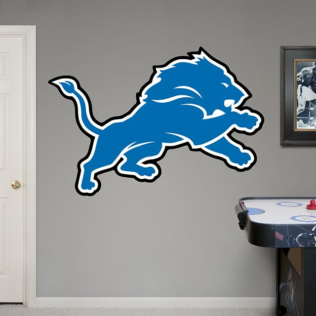 Detroit Lions Logo REAL.BIG. Fathead – Peel & Stick Wall Graphic | Detroit Lions Wall Decal | Sports Home Decor | Football Bedroom/Man Cave/Nursery