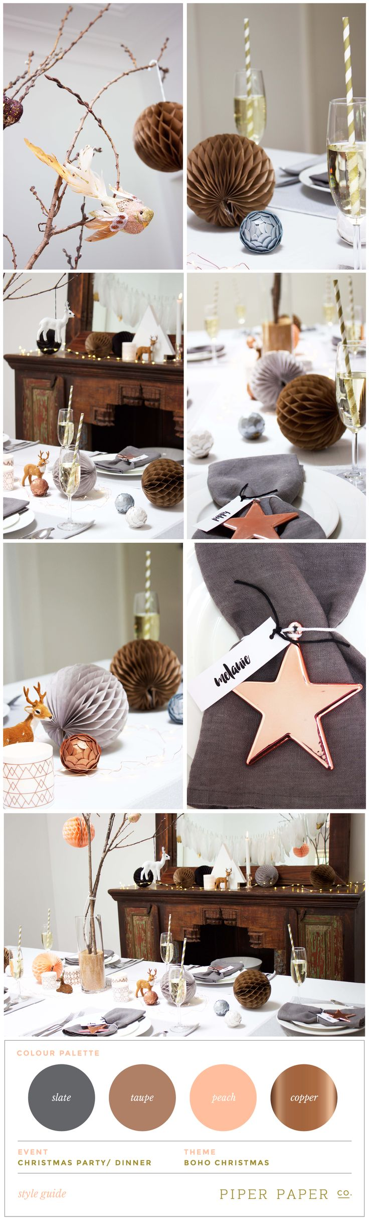 Style and Mood Board for Boho Christmas Tablescape. Sophisticated and stylish colour palette of slate, taupe, peach and copper. Fab table setting ideas for Christmas.