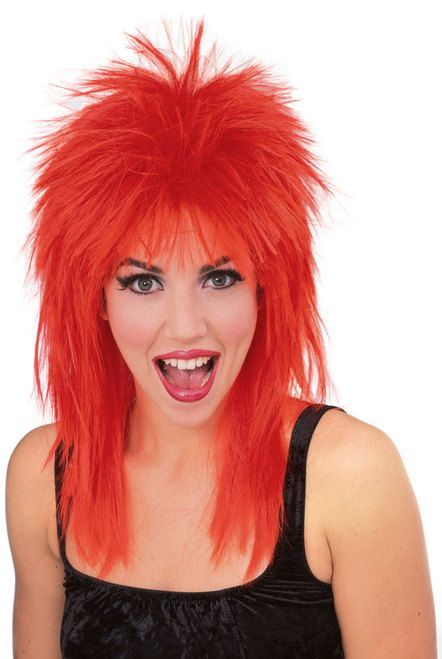 Red Super Star Sports Fan Wig - This bright red wig is the perfect sports fan wig. Rock out in this 100% Kanekolan mullet wig. Awesome with it's short spiky do on top, and longer in the back. Falls about to your shoulders. Perfect for  Monster truck rallies, hockey and football tailgating and much more.  Are you thinking C of Red or the Red Mile? Yup, this IS the perfect wig for Calgary Flames' and Calgary Stampeder's fans.  One size fits most.  #mullet #yyc #costume #wig #rockstar