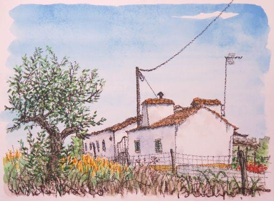 黄色い花と家(Monte Brancoにて)-インテリアアート・絵画販売 - 美styleアート 高橋文平 ヨーロッパの街角から