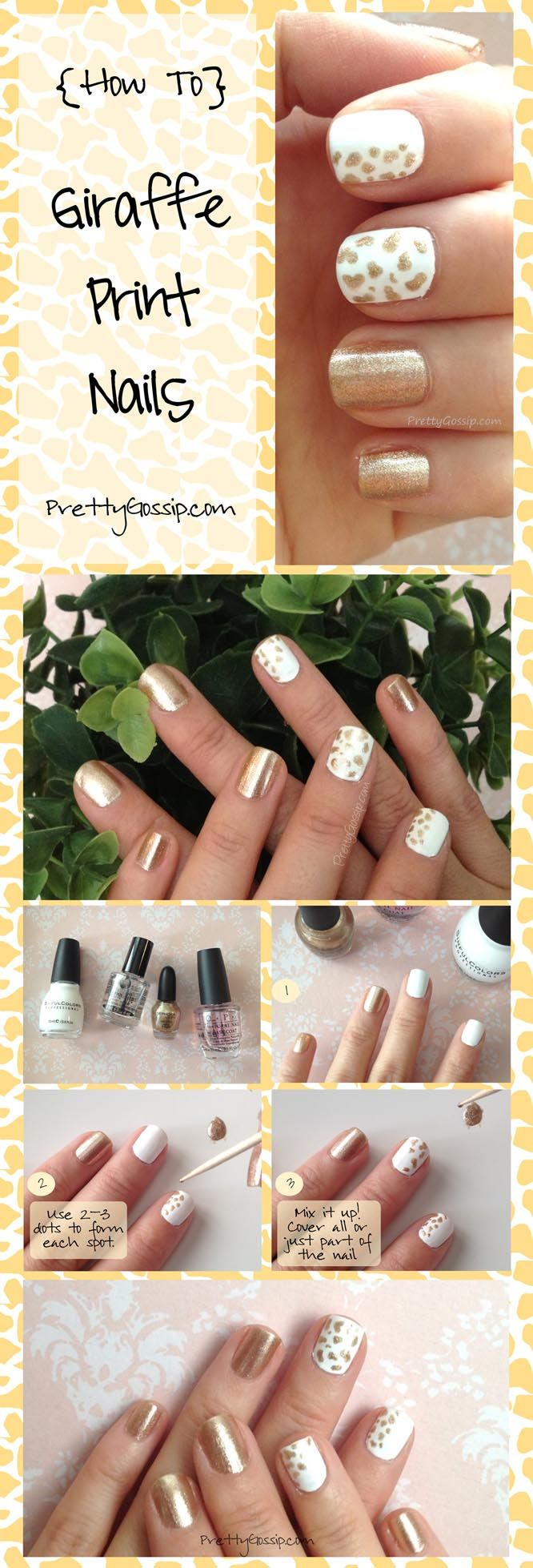 Due to popular demand, here's my Giraffe Print Nail Tutorial! Easy and Cute. ♥ MUST Pin and Try! #nails #notd #nailspotting #sephora