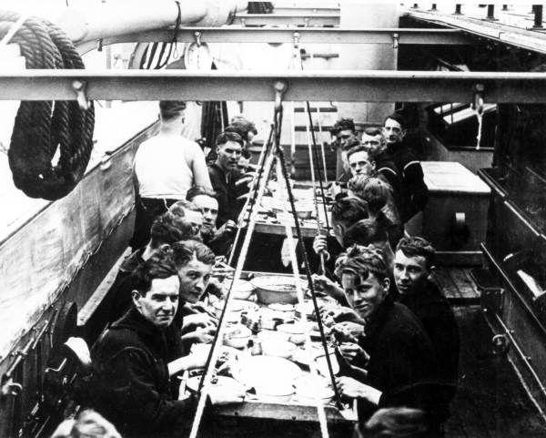 Florida Memory - Crew in the mess hall aboard the battleship USS Massachusetts.