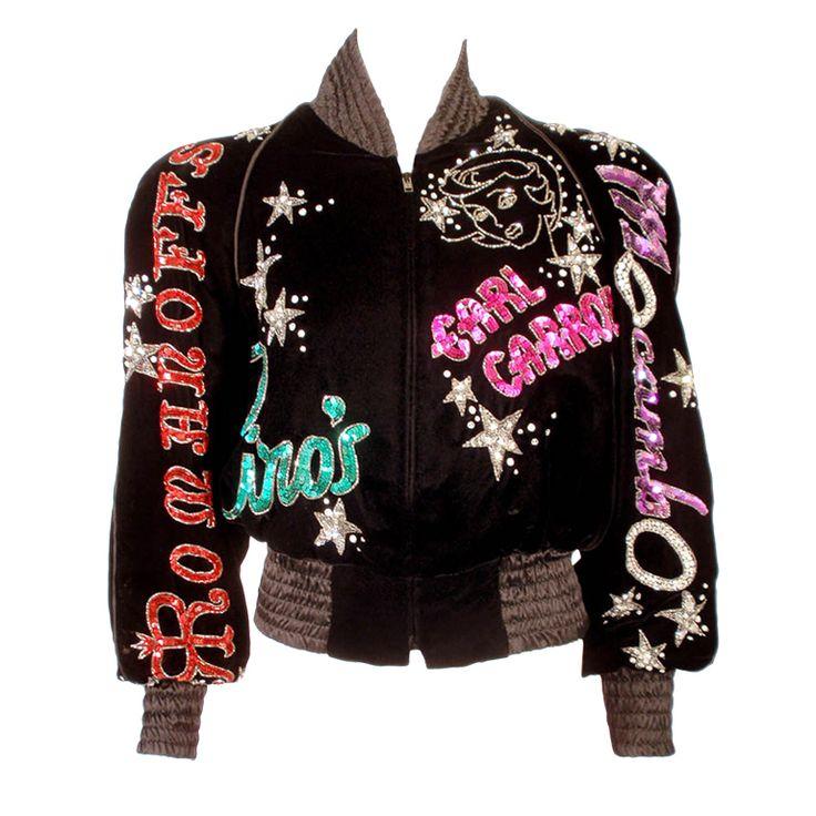Bob Mackie Black Velvet Bomber Jacket, from Paper Bag Princess. Price upon request.: Beaded Jacket, Sequin Jacket, Velvet Jacket, Bomber Jackets, Bob Mackie, Mackie Black, Black Velvet
