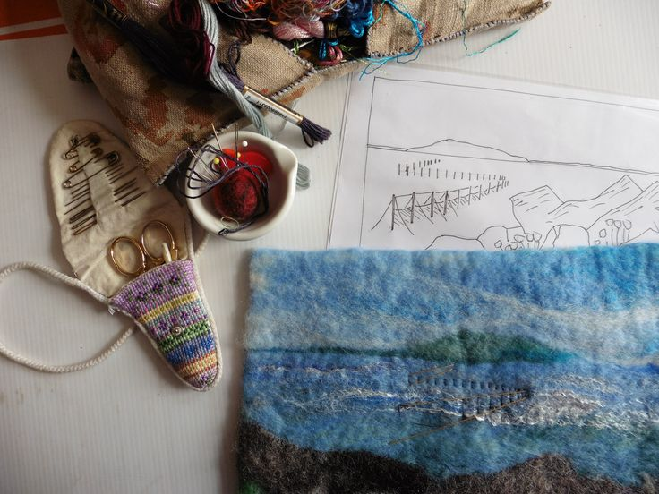 This is a test piece I'm working on, in preparation for a larger wallhanging.  I've set up some perspective lines, to ensure that the fishing nets look convincing.  See more work by LittleDeb on Facebook, Folksy and Etsy.