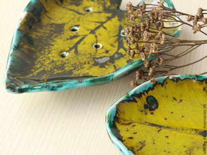 Ванная комната ручной работы. Ярмарка Мастеров - ручная работа. Купить Мыльница керамическая Лист. Handmade. Зеленый, для дома и интерьера