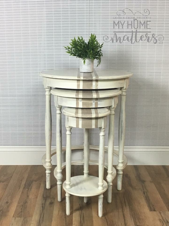Grain sack nesting table done in Annie Sloan Old White and Coco.