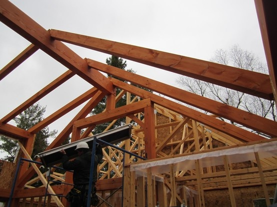 Timber frame construction shot at a build by Integrity