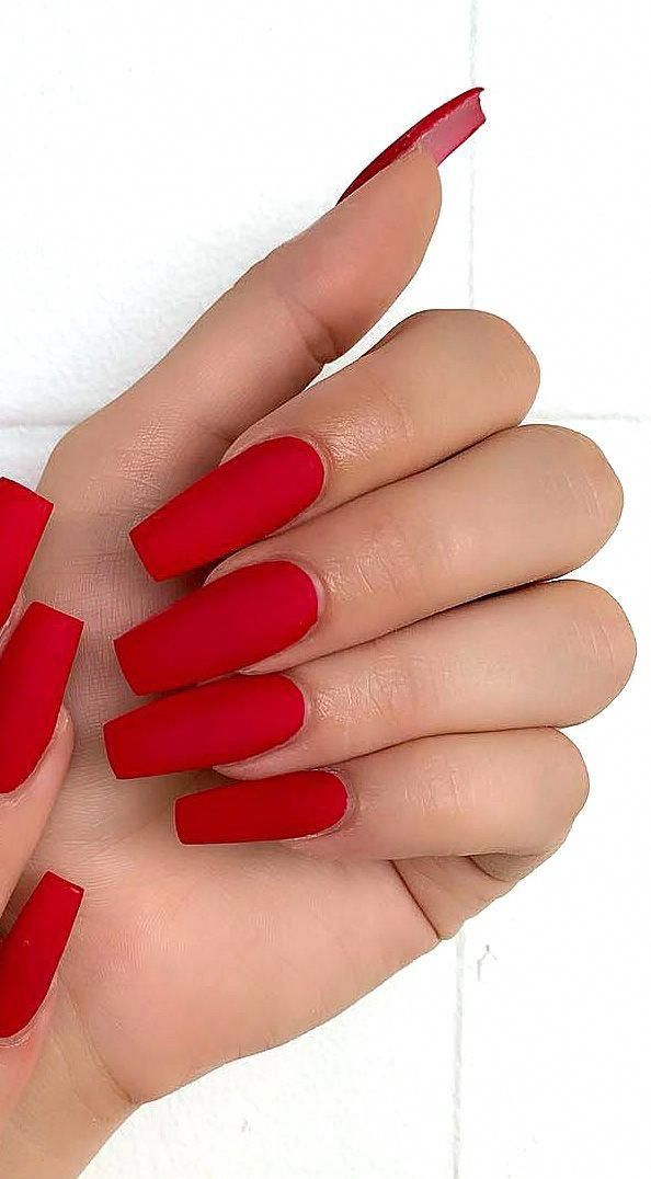 Pin By Mathilde On Ongles Red Matte Nails Red Acrylic Nails Spring Acrylic Nails