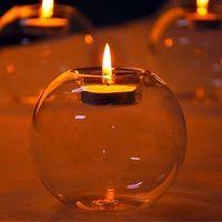 Cristal forma redonda sostenedor de vela moda transparente de la boda decorativa casera con una vela cena romántica