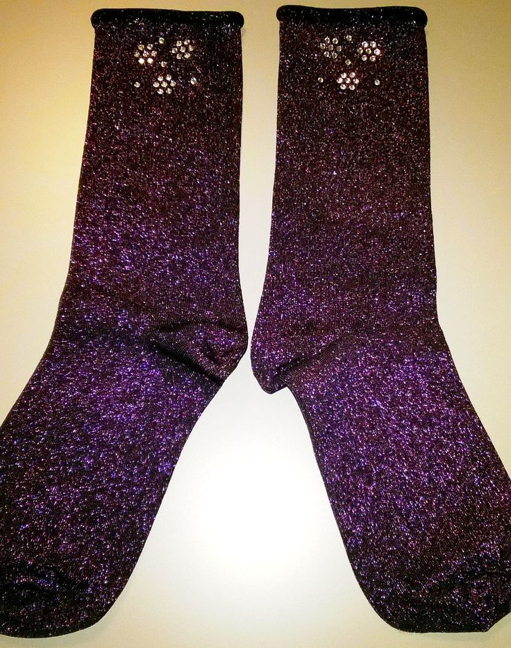 Purple Glitter SOCKS with handmade crystal strass flower. Made in Italy di RCClo su Etsy