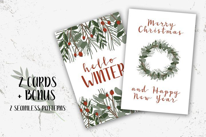 2 Christmas Cards And Bonus Merry Xmas And Happy New Year 999287 Card And Invites Design Bundles In 2021 Merry Xmas Christmas Cards Free Printable Birthday Cards