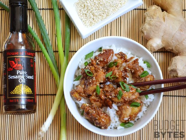 Easy Sesame Chicken - Budget Bytes (Use gf soy sauce or tamari, or substitute coconut aminos to make soy free. Substitute arrowroot starch for cornstarch to make corn free.)