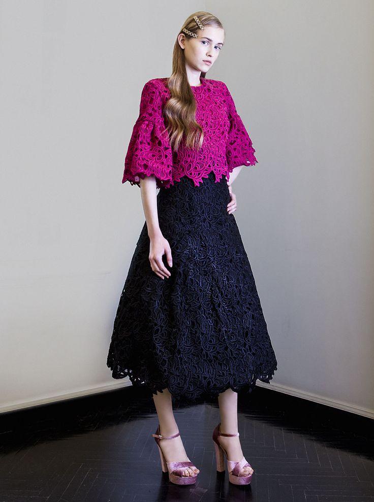 PR 1745 Skirt, PR 17 - 49-Top Guipure Lace Bell Sleeve Top, Magenta - Guipure Lace High Waist Tea Length Skirt, Black