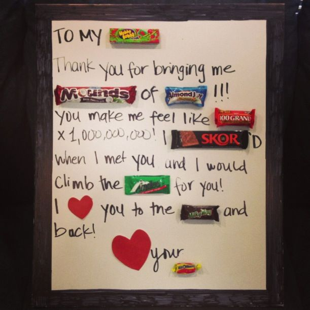 Thoughtful Gifts For Boyfriend Christmas: Candy Gram I Made My Husband In Our Anniversary