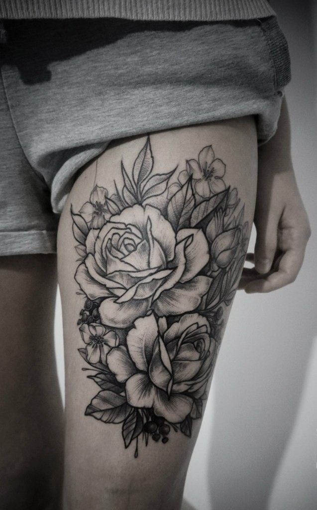Cute black-ink rose flowers tattoo on thigh                                                                                                                                                      More