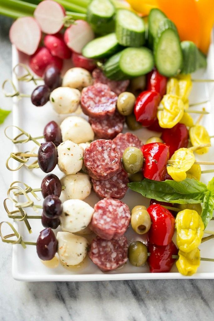 Antipasto skewers assortment of italian meats, cheeses, olives and vegetables