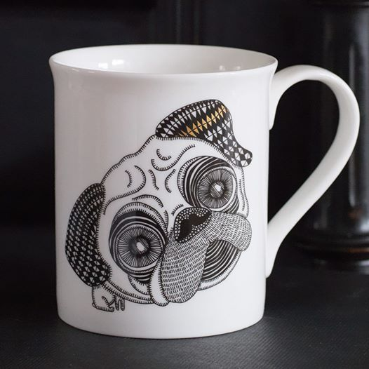 Whether you are a tea or coffee lover, it tastes best from our PUG MUG starring (Wo)man's Best Friend. Made in the heart of Britain's ceramic centre, Stoke-on-Trent, this beautiful white fine bone china mug features a jet black screen printed illustration of a Bulldog and a golden bone. http://www.alpenfraulein.com