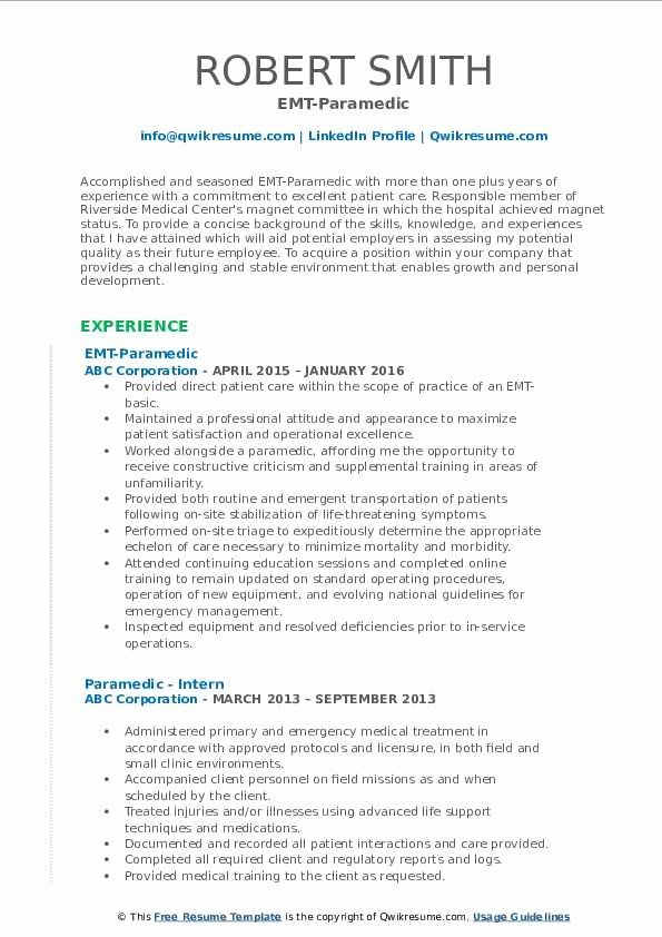 Emt Job Description Resume Elegant Paramedic Resume Samples