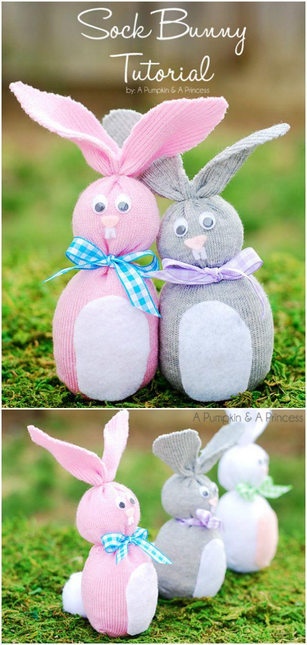 DIY Craft: DIY Easter Sock Bunny craft for kids - how to make sock bunnies