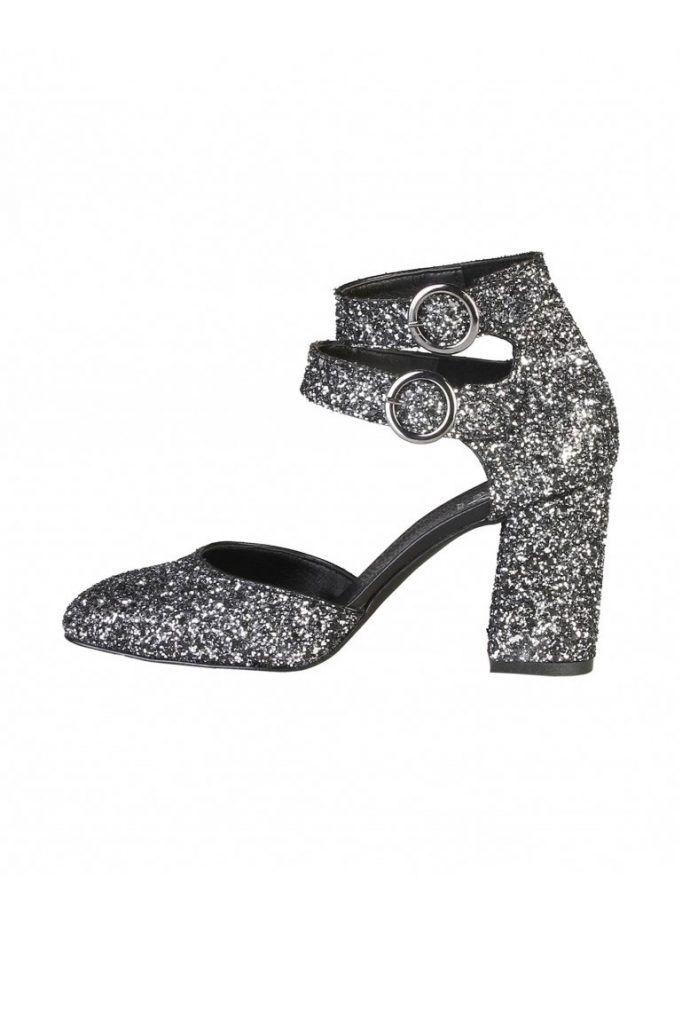 pantofi cu toc gros si glitter