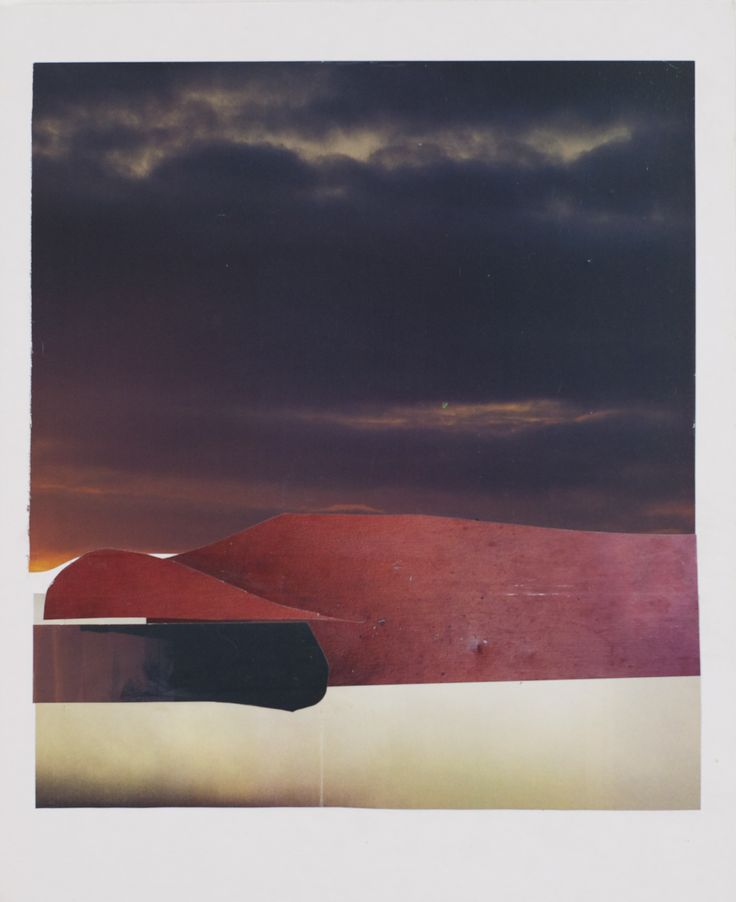 Anke Roder 'Nightclouds' 2016 collage red landscape night